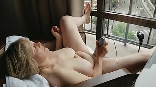 Mature Masturbating Window Exhibitionist