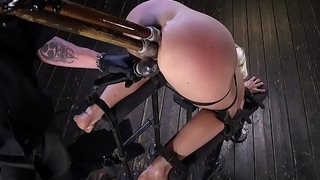 Blonde double penetration in device bondage