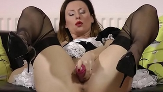 Toying mature brit maid