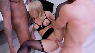Sexy Office Tramp Passed Around For Anal Pleasure