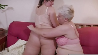 Curvy girls in pantyhose lick hairy cunts and asses