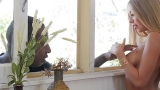 Black man visits her latina lover in her kitchen - Kat Dior and Jon Jon