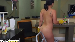 BANGBROS - Thick Latina Maid Kimmy Kush Gets Some Dick On Their way First Day
