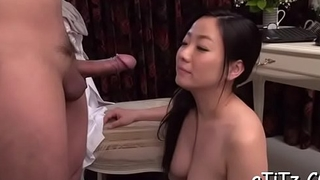 Breasty asian gives superb boob fuck and soaked fellatio
