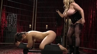 Huge tits mistress whips scheduled with regard to brunette