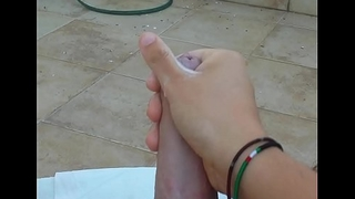 Brobdingnagian CUMSHOT in POV on balcony