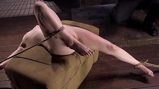 Whipped bondage submissive gets pussy toyed
