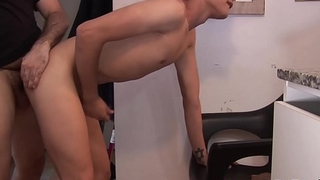 Twink sucks off hairy fat daddy coupled with takes it from behind