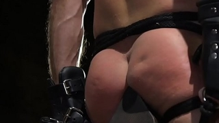 Bound hunk flogged by dominant stud
