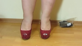 Erotic foot charm from beautiful bbw. Nylon, high-heeled shoes and a pedicure.