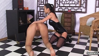 Asian Mistress fucks busty pornstar Kira Queen respecting various sex-toys