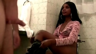 ebony teen has hard sex at toilet