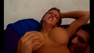 Ripped dude rams busty slut Night before Laurence with cock then facializes her