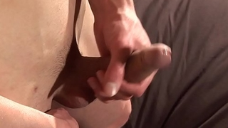 Fit lad fingering his ass and wanking