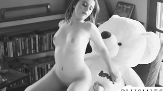 Sexy 18yo Costa Rica girl first time sex with teddy bear. full orgasm increased by squirting.