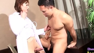 Spex ladyboy doctor riding hard cock
