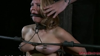 Restrained angel is made to suffer below hard toy playing