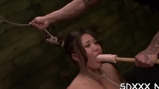 Bounded playgirl gets a mouthful be advisable for schlong in rough sex scenery