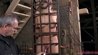 Chained up beauties get their twat drilled by hangman
