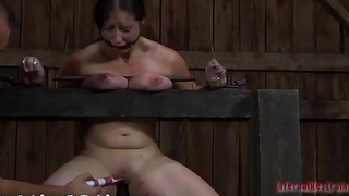 Masked angel gets her milk shakes bounded hard with toy drilling