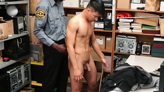 Straight Asian Twink Caught Shoplifting Fucked By Sooty Gay Officer