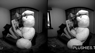 3D VR porn video, Lucy K sucking and jerking off teddy bear and receiving cum above tits