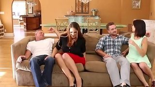 Miss Raquel rides her milf wet pussy on Kyle Masons hard young flannel on top!