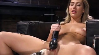 Blonde has orgasms on fucking machine
