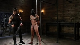Masked submissive roughly tugged
